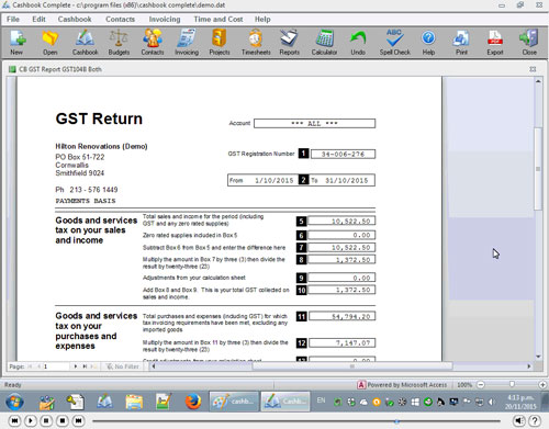 Producing GST Returns