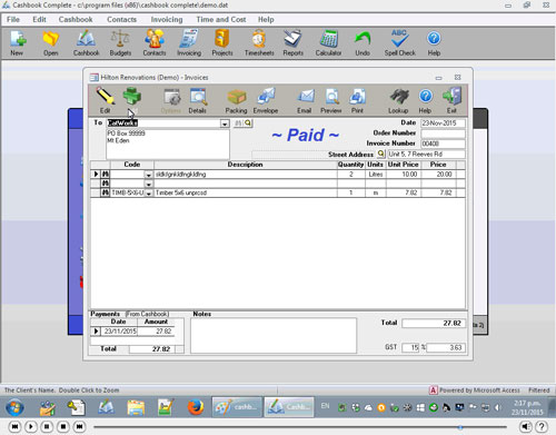 How to produce invoices in Cashbook Complete